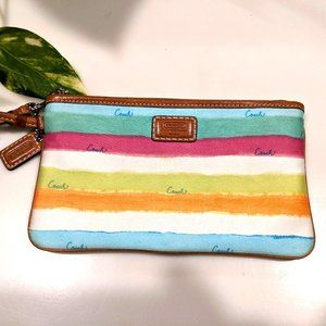Coach 49 Hamptons Stripe Watercolor Wristlet #4119